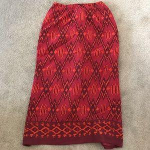 Silk Aztec Midi Skirt